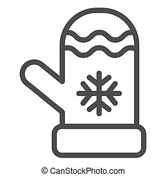 Mitten line icon. Winter clothes vector illustration isolated on white. Glove outline style design, designed for web and app. Eps 10.