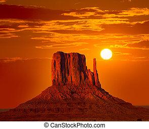 mitten, oeste, céu, vale monumento, amanhecer