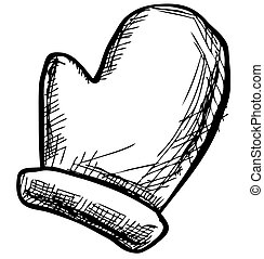 Mitten sketch vector illustration - Winter mitten sketch...