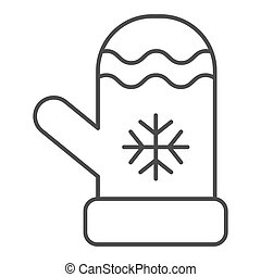 Mitten thin line icon. Winter clothes vector illustration isolated on white. Glove outline style design, designed for web and app. Eps 10.