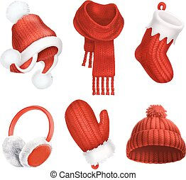 mitten., vecteur, hiver, clothes., tricoté, sock., hat., scarf., 3d, earmuffs., noël, icône