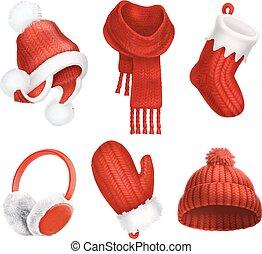mitten., wektor, zima, clothes., trykotowy, sock., hat., scarf., 3d, earmuffs., boże narodzenie, ikona
