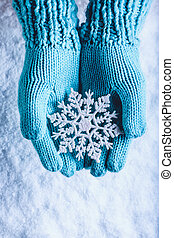 mittens, 개념, 물오리, 빛, 눈, 번쩍이는, 크리스마스, 뜨개질을 하는, 배경., 이상한, 여성 손...