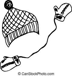 mittens, boné, inverno, equipamento
