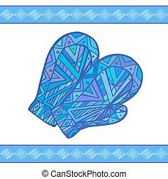 mittens, doodle, inverno, ilustração