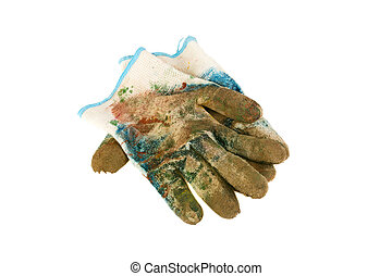 Mittens in paint on a white background