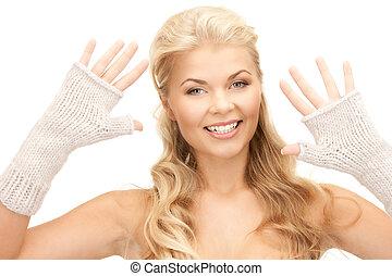 mittens, mulher, bonito