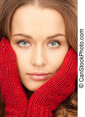 mittens, mulher, vermelho, bonito