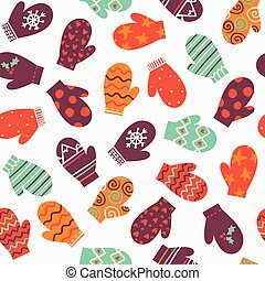 Mittens, vector bright winter seamless pattern - Mittens,...