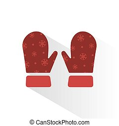 Mittens vector icon with shade on brown background