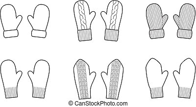 Mittens - Vector illustration. Set of winter mittens....