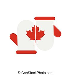 Mittens with a maple leaf icon, flat style
