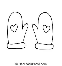 mittens with hearts hand drawn Christmas theme. scandinavian style, liner simple.