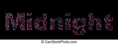 mitternacht, leuchtdiode, bunte, text