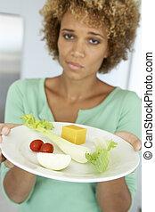mittlerer erwachsener, frau besitz, a, platte, gesundes...