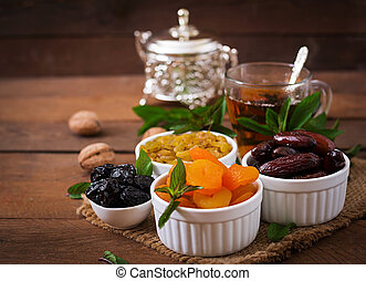 Mix dried fruits (date palm fruits, prunes, dried apricots,...