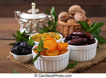 Mix dried fruits (date palm fruits, prunes, dried apricots, ...