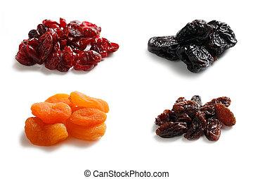 mix dryed fruits on white background