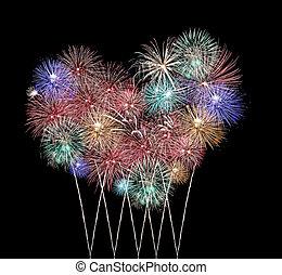 Mix Fireworks or firecracker in heart Shape.