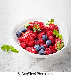 Mix fresh berries blueberry, strawberry, raspberry