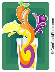 This is a picture of a glass with a mix of freshly squeezed juice of three vegetables