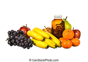Mix fruit and vitamind D bottle isolated on white background