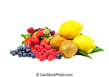 Mix fruit on white blackground