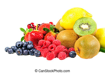 Mix fruit on white blackground