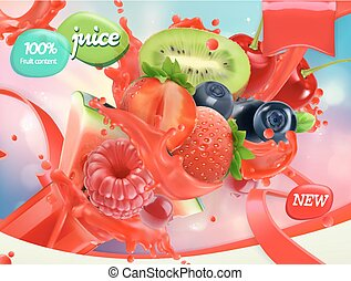 Mix fruits and berries. Splash of juice. Strawberry, raspberry, blueberry, watermelon. 3d realistic vector, package design