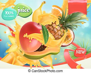 Mix fruits. Splash of juice. Mango, banana, pineapple,...