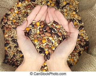 mix grain heart - grain mix raffia bag held over a heart-...