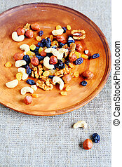 mix nuts and dried fruits on a plate