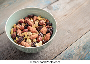 Mix nuts in bowl