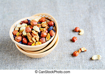 mix nuts - walnuts, hazelnuts, almonds, raisins, food ...