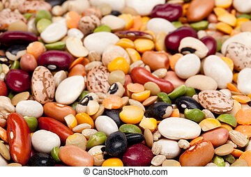 Mix of 17 beans and barley - Macro shot of many different ...