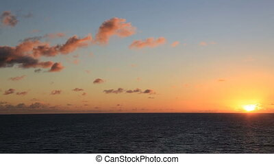 mix of 2 shots, Sunset on the ocean and clouds