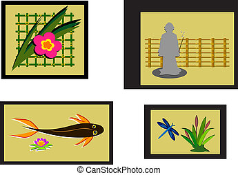 Mix of Asian Style Framed Pictures
