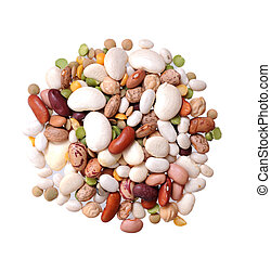 mix of beans on white background