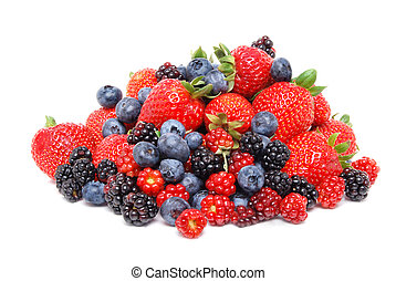 Mix Of Berries - mixed berries white background