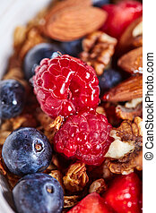 Mix of berries, nuts, oatmeal, granola and honey close-up. Ingredients for dietary nutrition.