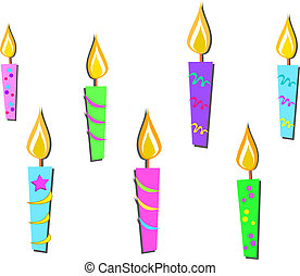 Mix of Colorful Candles - Here is a group of colorful...