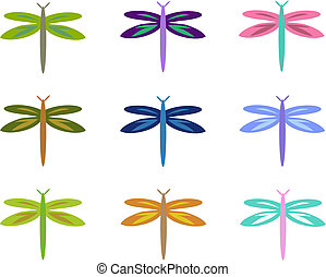 Mix of Colorful Dragonflies