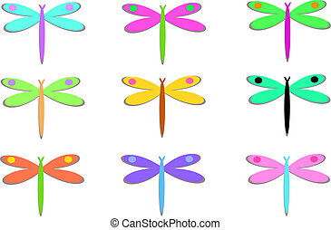 Mix of Colorful Dragonflies with Do