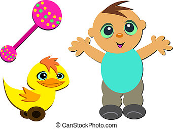 Mix of Cute Baby, Rattle, and Toy D