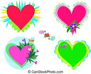 Mix of Decorated Hearts
