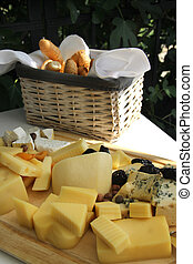 Mix of different cheese on the table