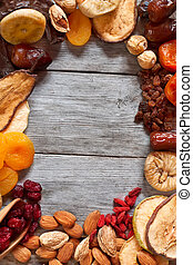 Mix of dried fruits and almonds - symbols of judaic holiday...
