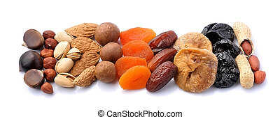 Mix of dried fruits and nuts.