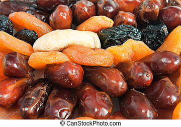Mix of dry fruit - date, apricot, plum