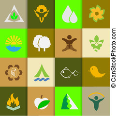Mix of ecology and nature flat icons